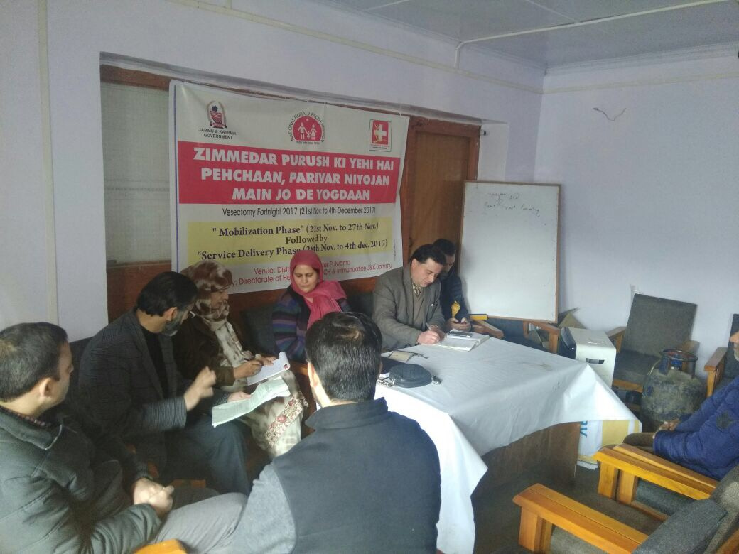 Vasectomy Fortnight sensitisation meetings and workshops held across districts in Jammu & Kashmir.