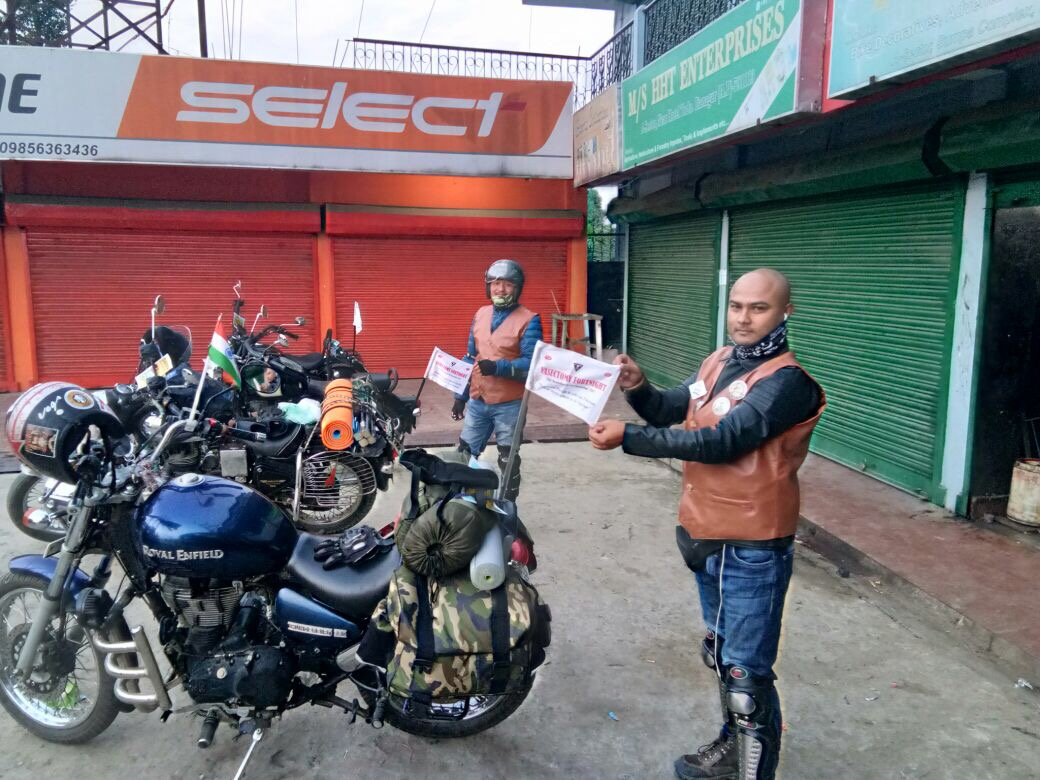 Royal Arunachal bullet club riders carry the message of Vasectomy Fortnight from Itanagar to Mechuka covering 554 kms.
