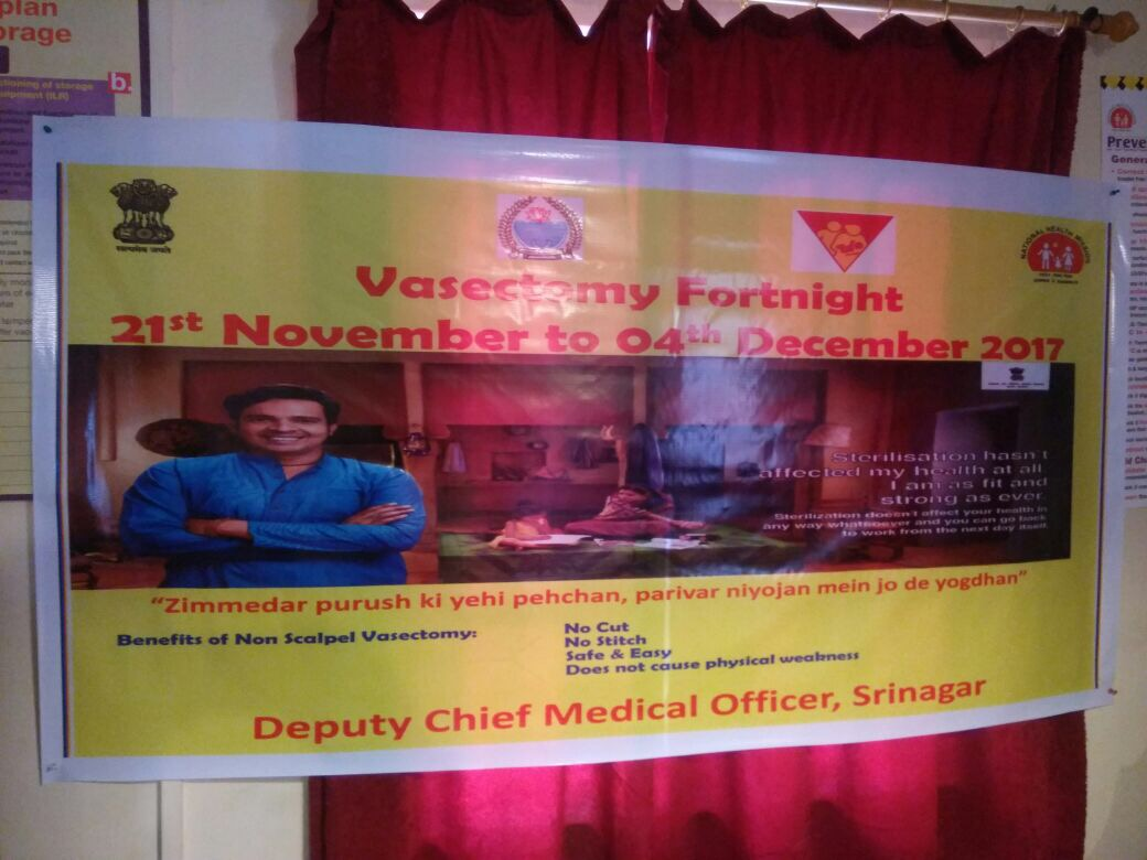 IEC on NSV and promotion of male participation displayed across facilities in J&K as state observes Vasectomy Fortnight.