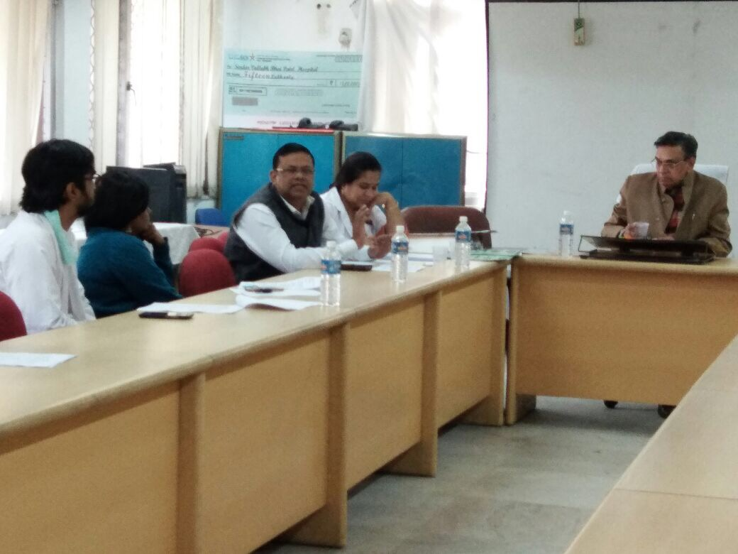 Sensitisation meeting on NSV held at SVBP hospital under the Chairmanship of Sh. Hazari Lal Sharma, MLA, Patel Nagar, Delhi.