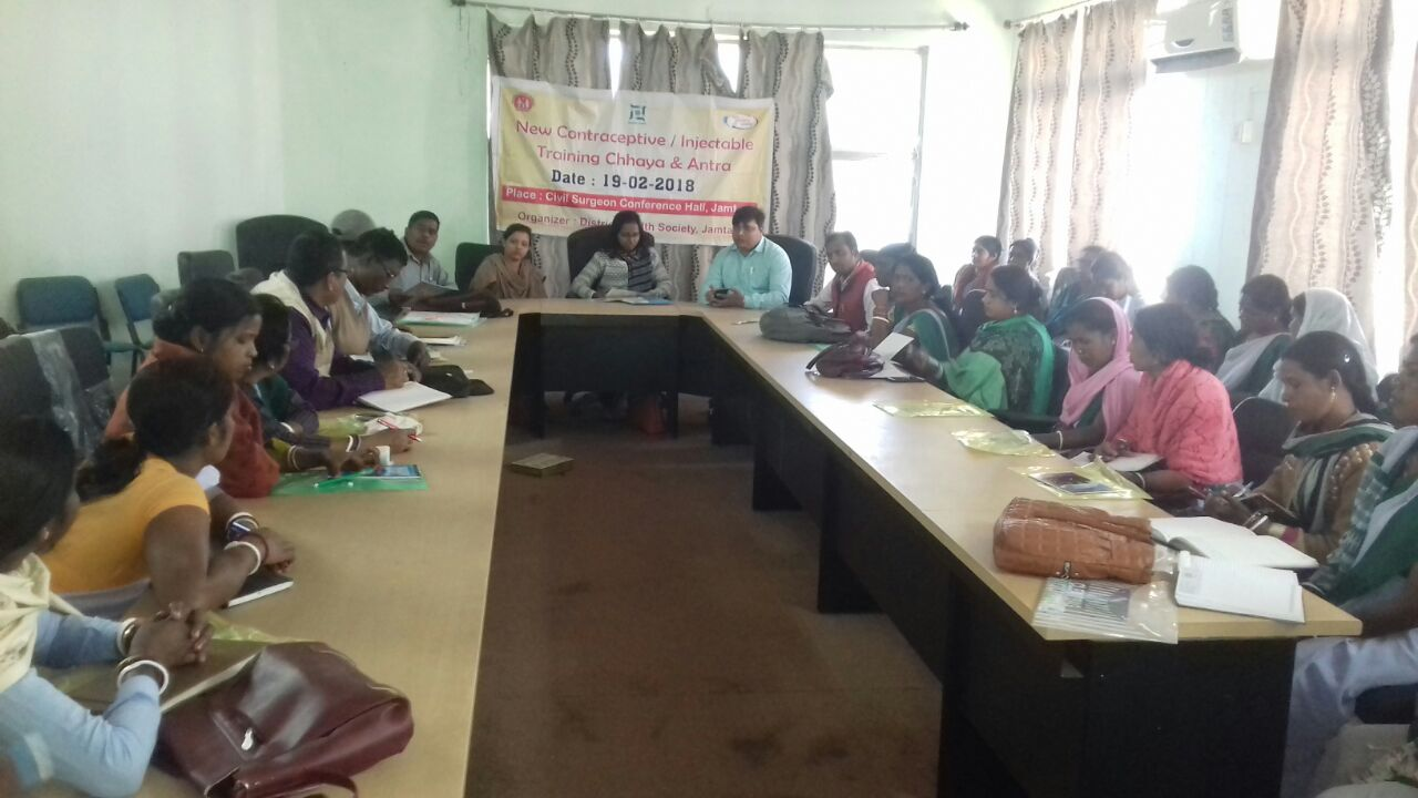 Block Training Teams and Sahiya Sathi undergo training on new contraceptives - InjectableContraceptive (MPA) and Chhaya in Jamtara district, Jharkhand.