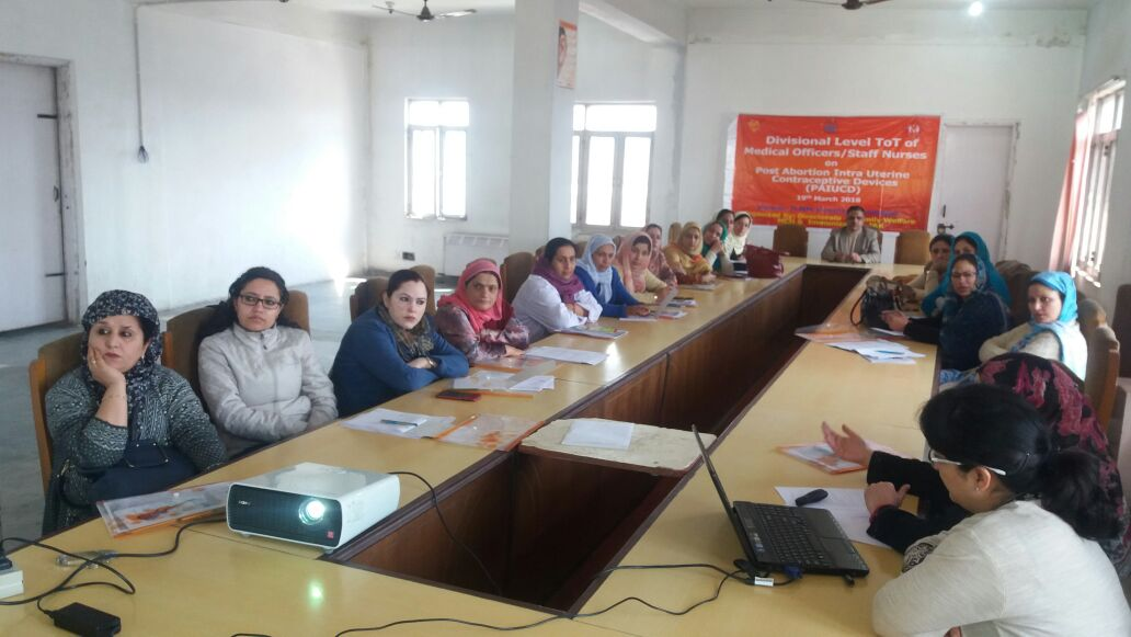 Divisional level ToT on Post abortion IUCD organized for Gynecologists, Medical Officers and Staff Nurses at Srinagar, Jammu & Kashmir
