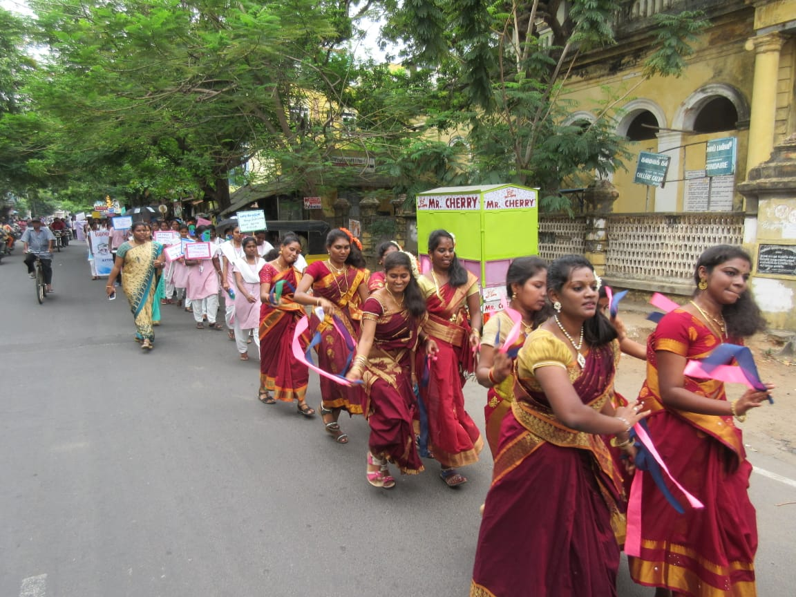 The streets in Puducherry radiated with color and zeal as masses came out to support World Population Fortnight and Day